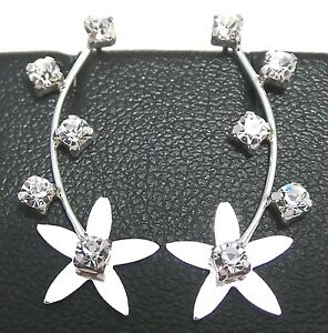 4929f6b9618 NEW Sterling Silver 925 Crawler Clear Crystal CZ Flower Earpin Vine ...