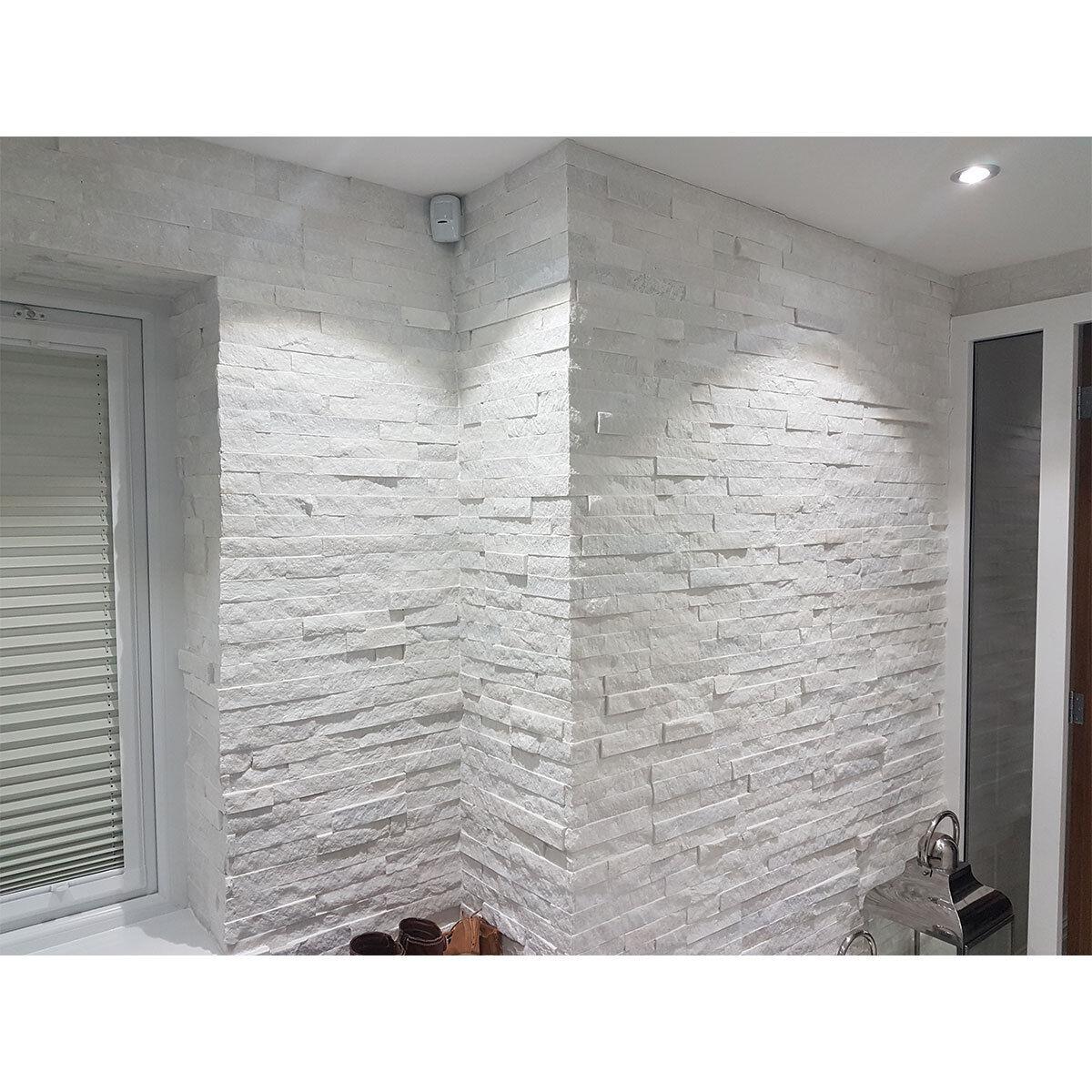 Split Face White Quartz Natural Stone Cladding Mosaic Wall Tiles 10m2 Deal