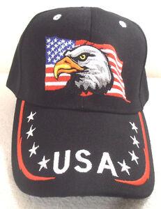 3c7d806479c BALL CAP EAGLE HEAD AND FLAG STARS   STRIPES ON BILL BLACK HAT