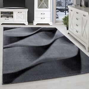 Détails sur Tapis Moderne Design Salon à Poils Ras Abstrait Vagues Motif  Noir Gris