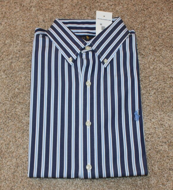 Dress Light Shirt Pony Lauren Ralph Men's Navy Polo Blue Striped Small QCtsrhdBx