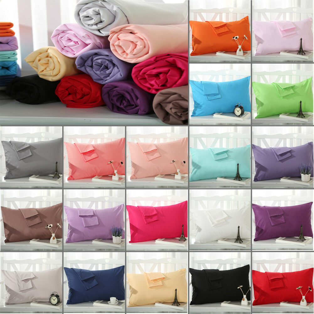 100/% Cotton Solid Pillow Cases 1PC//2Pcs Covers Pillowcases Standard Size Hot
