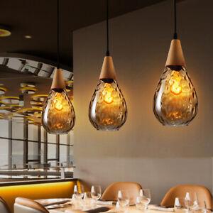 Glass Pendant Light Kitchen Lamp Wood Modern Ceiling Lights Bar Pendant Lighting Ebay