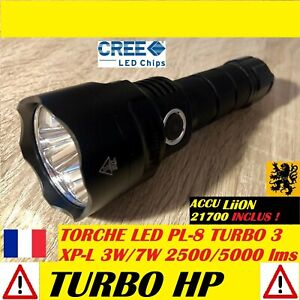 LAMPE-TORCHE-LED-PL-8-3xCREE-Turbo-5000Lm-4V-7W-150m-MULTIFONCTION-IPX8-ANTICHOC