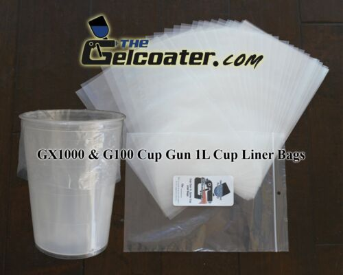 500pk 1L Disposable Cup Liners For GelCoater GX1000 /& ES G100 Gelcoat Spray Gun