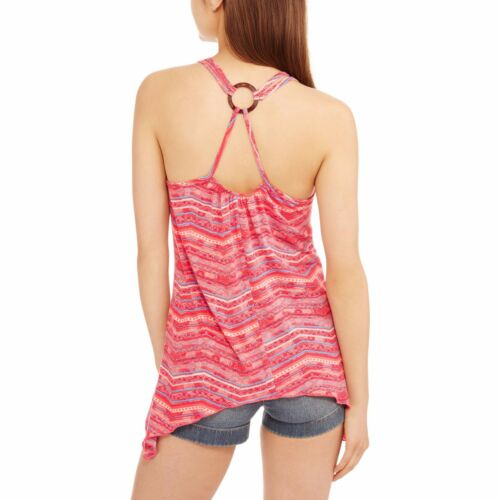 No Boundaries Juniors/' Printed Strappy Tank with Caged Back and Coconut Ring