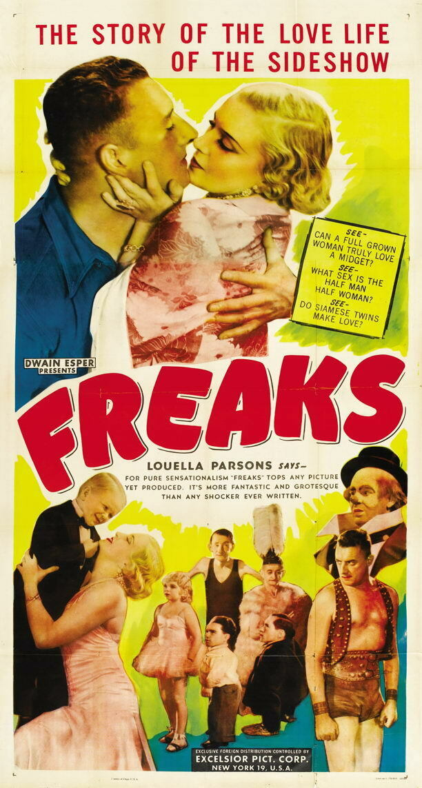 G3404 Freaks Louella Parsons Movie 2 VHS Vintage Laminated Poster DE