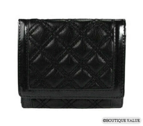 Black Quilted Organizer Tri-Fold Credit Card Wallet Purse New