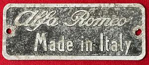 """made In Italy"" Metal Plate Alfa 1900 2000 2600 Touring Giulietta Giulia Ss"