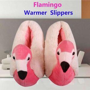 e76c86610 Women Girls 3D Flamingo Warm Slippers Fluffy Foot Warmer Plush Shoes ...
