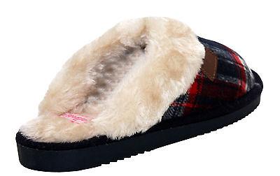 Nueva Mujer de las Señoras de Invierno Forrada De Piel Cálido plana Slip On mulas Acogedor Pantuflas Uk 3-8