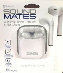 491608f1558 Image is loading Tzumi-5761WM-Sound-Mates-Bluetooth-Earbuds-with-Protective-