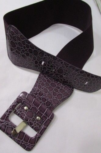 Women Party Purple Hip High Stretchy Wide Belt Square Buckle Fashionable M L XL