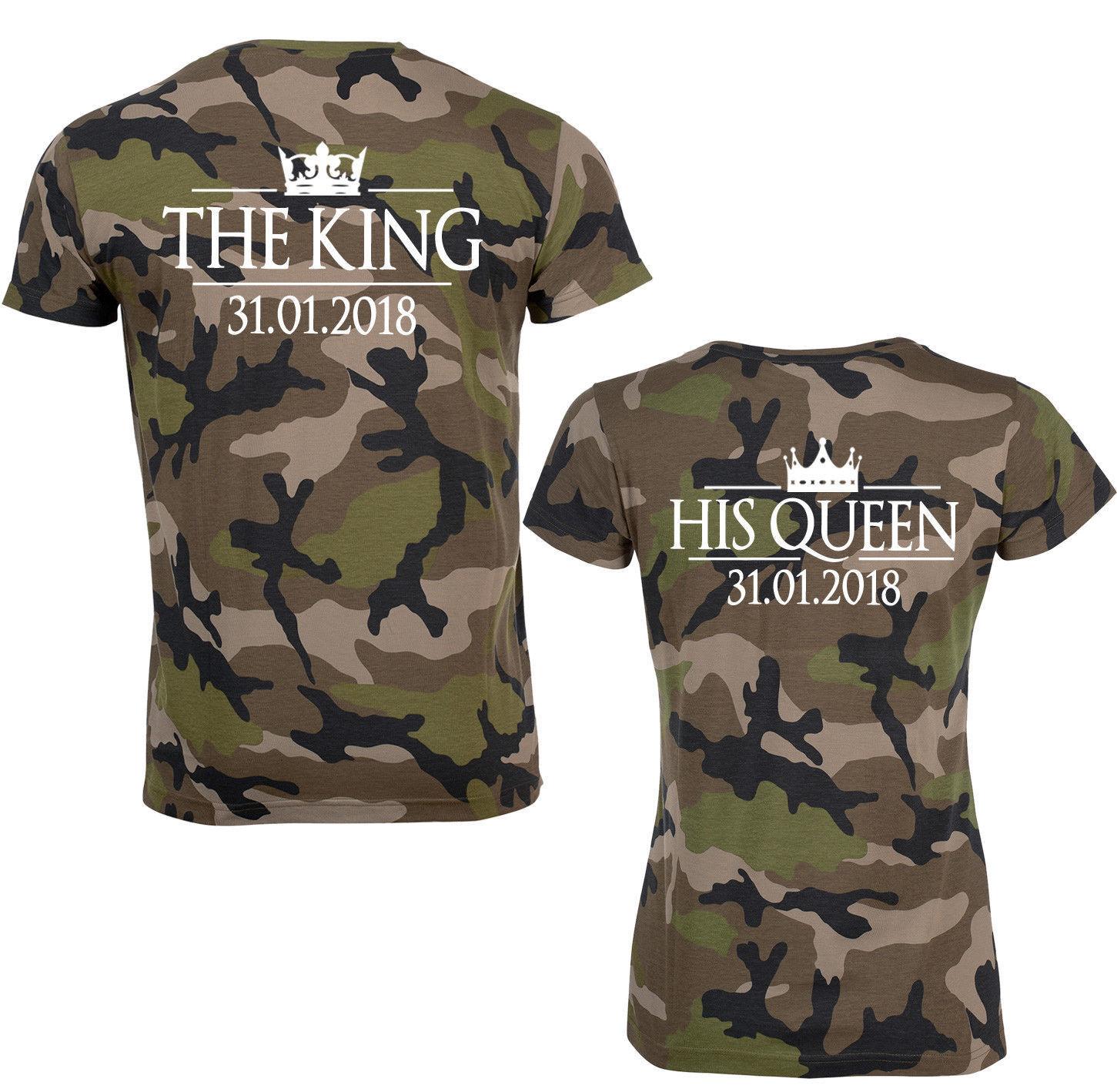 TRVPPY Partner Pärchen Shirts  The King & His Queen  mit Wunschdatum in CAMOU    | Elegant und feierlich  | Angemessener Preis  | Hohe Qualität und geringer Aufwand