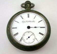 ELGIN NATL WATCH Co SAFETY PINION ORE SILVER  VINTAGE POCKET WATCH FOR  REPAIR