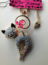 "PRETTY CRYSTAL CAT w/Pink Tail Bow 28"" Pendant Necklace Betsey Johnson"