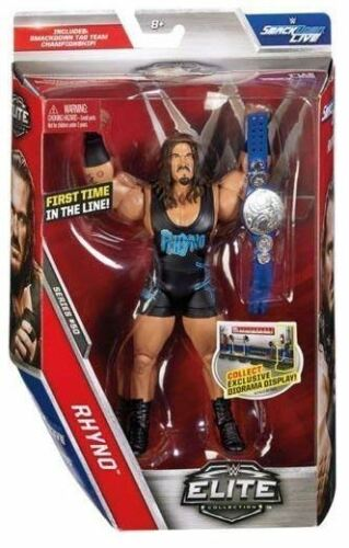WWE Wrestling Rhyno Elite Mattel Action Figure with Wrestling Belt