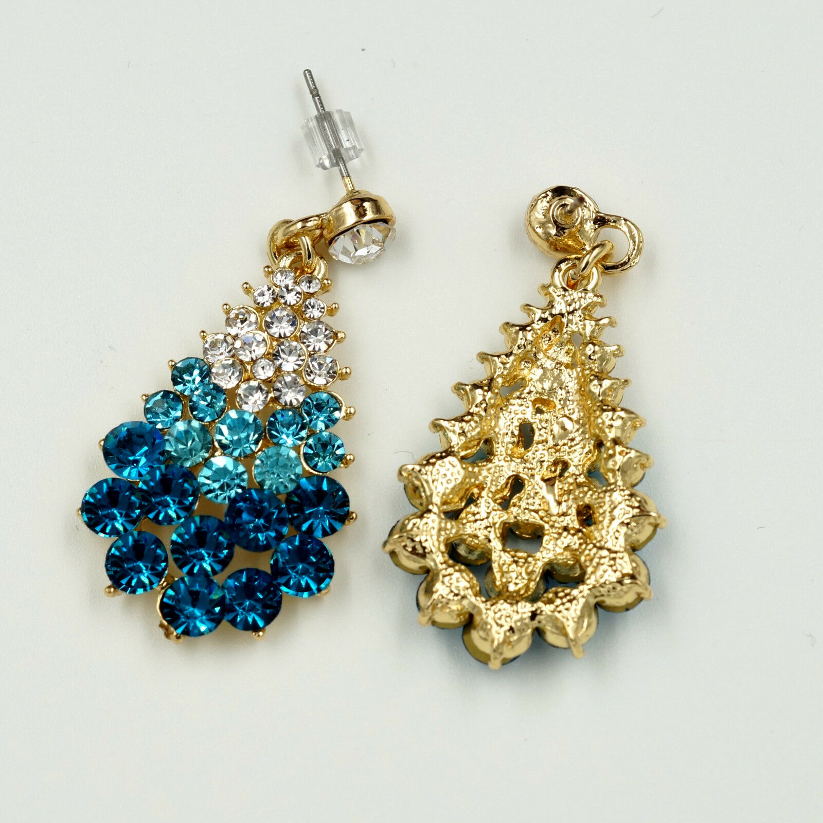 New 18K Gold Plated GP Blue Crystal Rhinestone Drop Dangle Earrings 00841