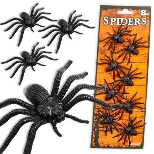 6,5cm Schwarze Spinnen im 8er Set