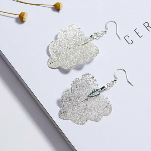 Fashion Women Real Leaves Leaf Hook Drop Dangle Earrings Ear Stud Jewelry Gift