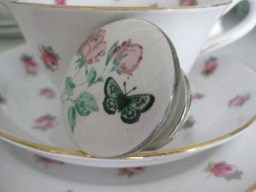 Vintage pretty pink rose / papillon bleu céramique poignée de tiroir bouton tirer