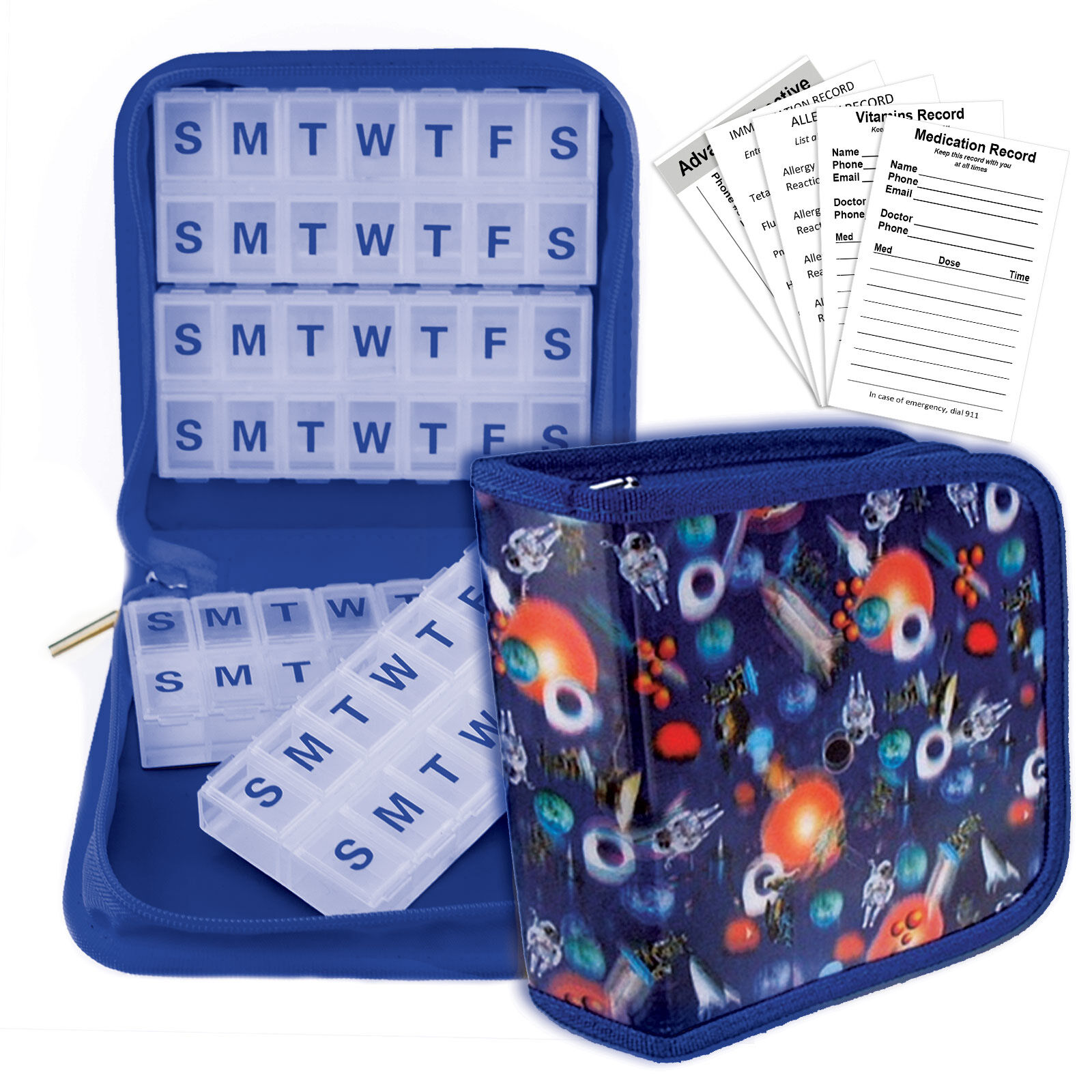 Pill Travel Case Organizer Blue Outer Space Moon Stars Planets
