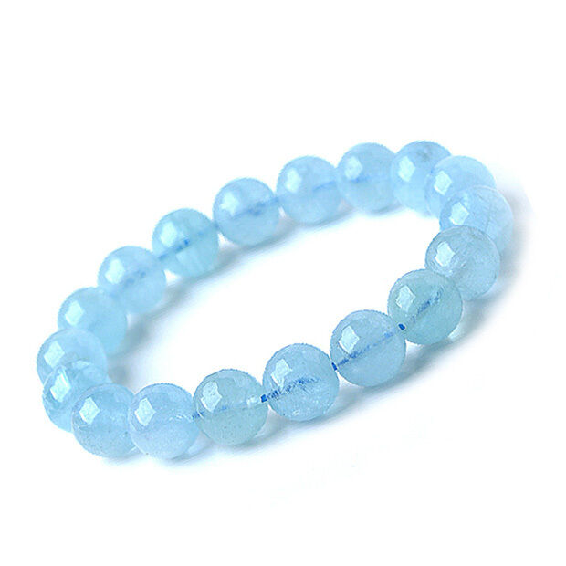 Genuine Natural bluee Aquamarine Stretch Round Beads Bracelet AAAA 13 mm