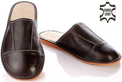 Elegante Herren Leder HausSchuhe Felix braun Pantoffeln Latschen bis Größe 48
