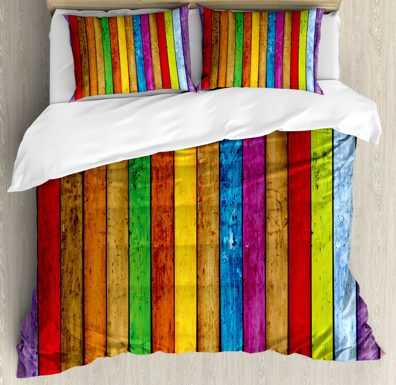 Rainbow Duvet Cover Set with Pillow Shams Vibrant Wooden Artistic Print