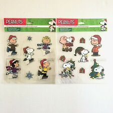 Vintage Peanuts Window Clings Snoopy Woodstock Charlie Brown Lucy Christmas 90/'s
