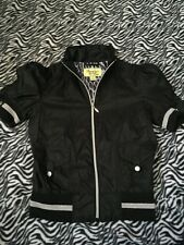 Maralyn & Me Black Silver Windbreaker Zip Mini Jacket Clothes Womans sz Small S
