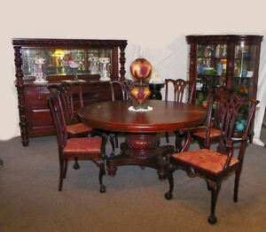 Details about 9 Pc Matching Antique Mahogany Dining Room Set - Table Curio  Sideboard 6 Chairs
