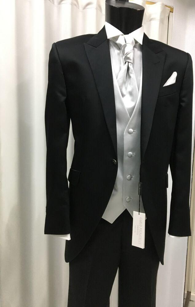 Abito Uomo Sposo Nero Tight Firmato Carlo Pignatelli Cerimonia Suit Wedding