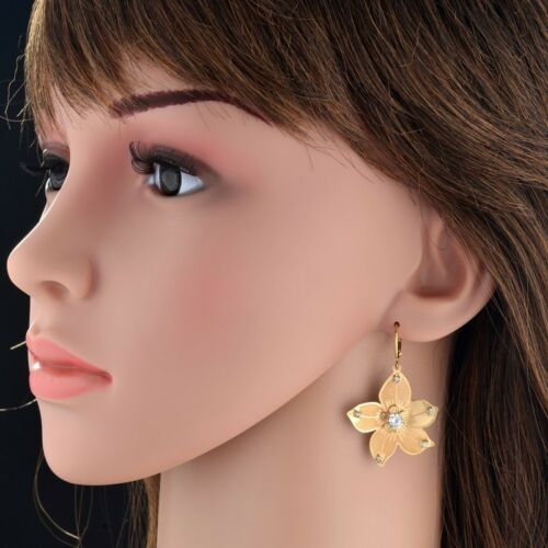 Gift Bag+Pouch 18 Real Gold Plated Star Drop Earrings with AAA Zircon Crystal