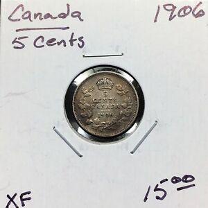 1906-Canada-5-Cents-Silver-Coin-King-Edward-VII-XF