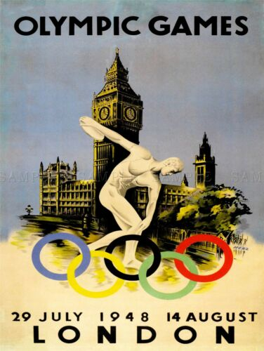 SPORT ADVERT 1948 OLYMPIC GAMES LONDON RINGS BIG BEN UK ART POSTER PRINT LV7461