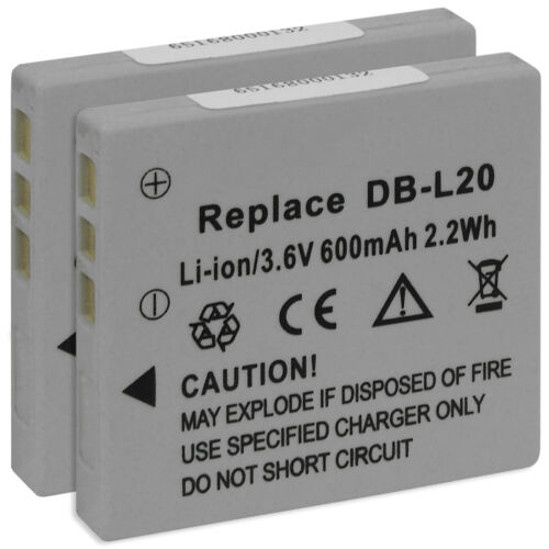 2x Batería DB-L20 para Sanyo Xacti VPC-E7 E60 J1 J2 J4 J4EX