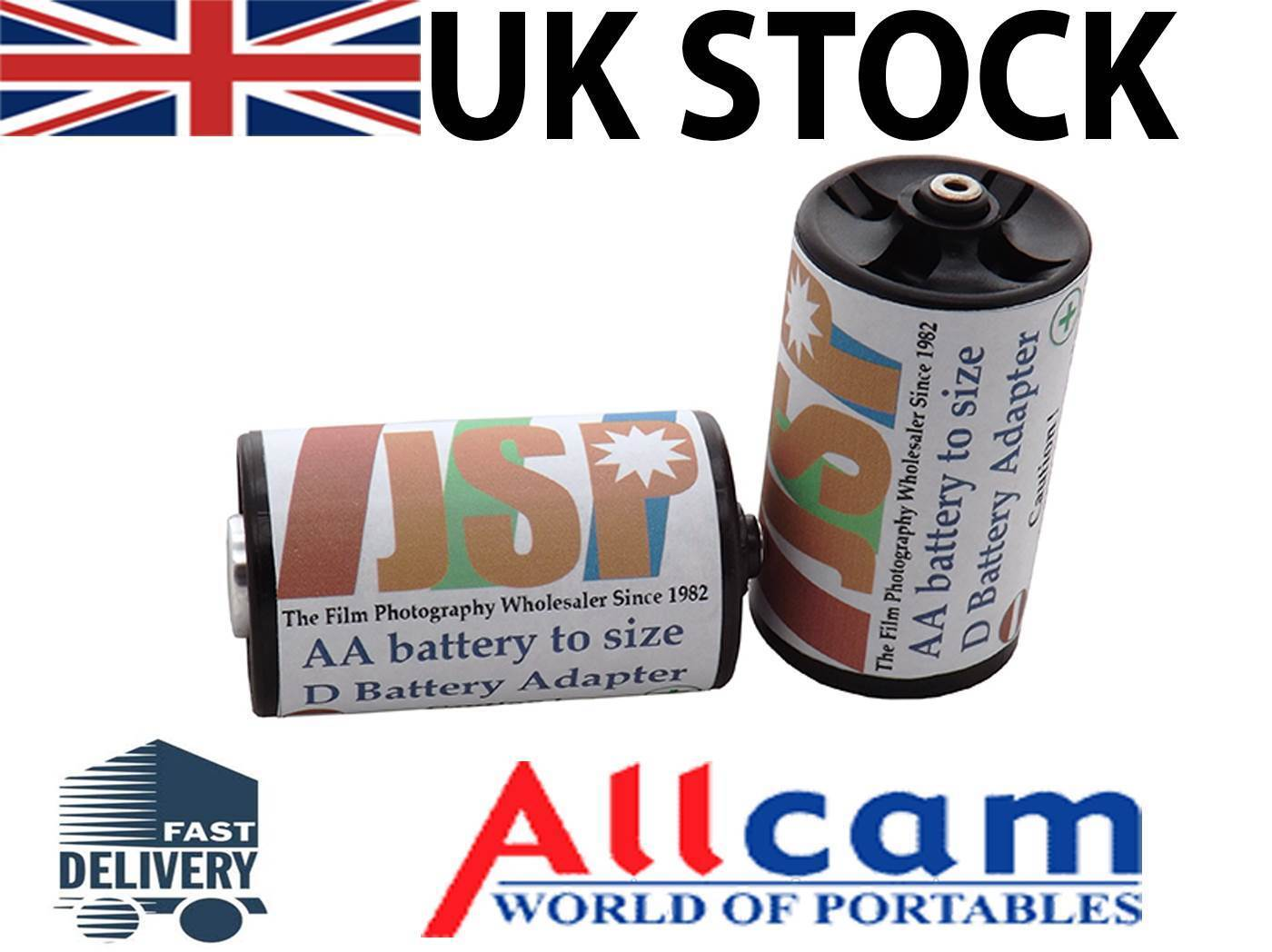 2 Pieces AA battery to size D Battery Adapters, JSP brand, New