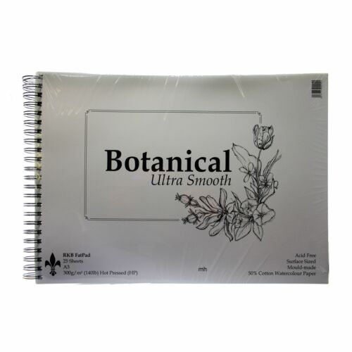 Botanical Hot Press Watercolour paper pad 300gsm 50/% cotton Ultra Smooth A3 A4