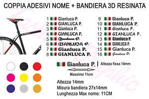 COPPIA-DI-ADESIVI-NOME-INIZIALE-COGNOME-BANDIERA-ITALIANA-3D-MOTO-BICI-STICKERS