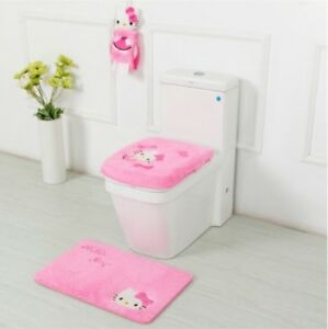 Hello Kitty Bathroom Sets Accessories Toilet Seat Cover Bath Mat