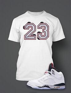 b7db9b563dd9de 23 Graphic Tee shirt To match AIR JORDAN 5 WHITE CEMENT Shoe Custom ...