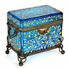 Antique Moser Bohemian blue enameled glass Casket box. NR
