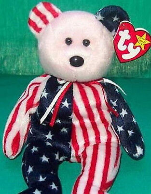 "RETIRED TY Beanie Babies /""SPANGLE /"" PATRIOTIC USA TEDDY BEAR MWMTs Pink Face"