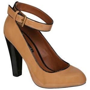da donna beige marrone scarpe da tennis verniciate con la caviglia cinturino