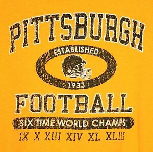 Pittsburgh-Steelers-Six-Time-World-Champs-Distressed-Style-T-Shirt-LARGE-NFL