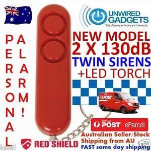 NEW-TWIN-SIREN-PERSONAL-DUAL130dB-SIRENS-WITH-LED-TORCH-Pepper-Spray-Alternative