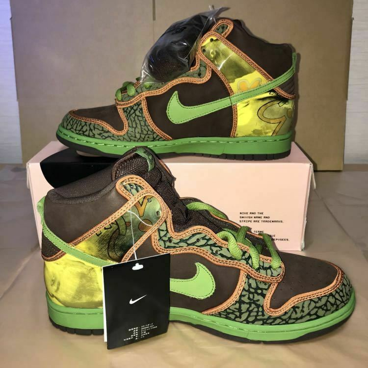 2005 NIKE DUNK HIGH PRO SB DE LA SOUL Size 10.5 BAROQUE BROWN ALTITUDE GREEN