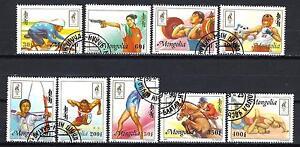 JO-verano-Mongolia-45-serie-completo-de-9-sellos-matasellados