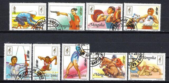 JO verano Mongolia (45) serie completo de 9 sellos matasellados